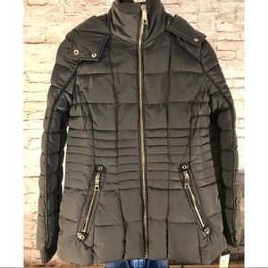 Guess Hooded Quilted Down Puffer Jacket Pewter Med